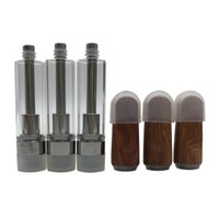 Wooden Cartridge gold color Wood tip Glass Ceramic Coil atomizer with 4*2.0mm Intake hole 510 Thicker Oil Vape