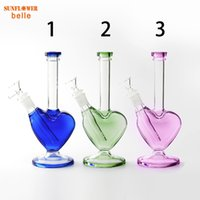 5.4 Inch Smoke beautiful love hookah Water Pipe heart shaped glass bongs oil rig thickness for smoking bong with bowl downstem