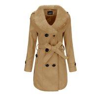 Women's Wool & Blends Middle-length wool coat of winter women's blouse Korean style great fur collar solid woolen j IRNJ