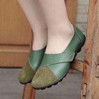 플랫 신발 여성 단단한 게리 신발 여성 정품 가죽 후크 루프 로퍼 큰 크기 35 44 숙녀 Dames Schoenen V8T2 #