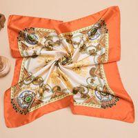 Scarves Women Printed Handle Bag Hair Multifunction Ribbon Ladies Small Satin Square 60*60cm Neckerchief Bandana Head Wraps