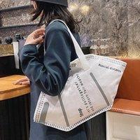 Borsa a tracolla della maschera creativa della tela ambientale Borsa casual borse per le donne 2021 Nuovo sacchetto della spesa alla moda della signora grande capacità C0305