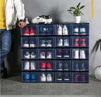 34 * 25 * 18 cm PP Şeffaf Plastik Depolama Ayakkabı Kutuları Depolama Toz Geçirmez Çekmece Saklama Kutusu Dolabı Katlanır ve Çıkarılabilir Ücretsiz Kargo