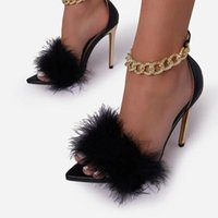 Dress Shoes 2021 Pink White Women Sandals Sexy Open Toe Furry Fur Summer High-Heeled Pumps Ladies Metal Buckle Strap Wedding Party