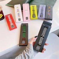 Kolorowe inteligentne paski Pleciony Pasek silikonowy dla Apple Watch Bransoletka Sportowa 38mm 40mm 42mm 44mm Foriwatch Rainbow Band Series 6 SE 5 4 3 2