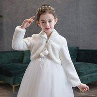 Wraps & Jackets Wedding Kids White Shawl Flower Girl Plush Winter Coats For Birthday Girls Dress Autumn Party Bolero 2021
