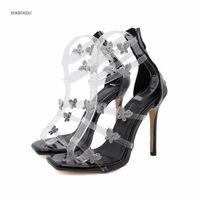 Sandalet 2021 Bayanlar Rhinestone Kelebek Süper Seksi kadın Ayakkabıları Moda Gösterisi Yüksek Kalite 12 cm Topuklu Boyutları 4-9 10