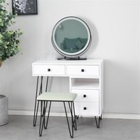 Meble do sypialni Proste Lekkie Luksusowe MDF Dressing Tabela Żelazna Dresser Solid Drewno Makeup Szafka Storage Biały