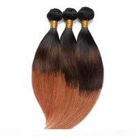 Trois tonalité # 1B 4 30 Bonds de cheveux humains malaisiens ombre Straight Virgin Cheveux Extensions Noir Marron à Medium Auburn ombre cheveux humains Teins