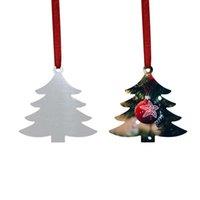 Sublimation Blank Christmas Ornament Double-Sided Xmas Tree Pendant Multi Shape Aluminum Plate Metal Hanging Tag Holidays Decorat GWE10176