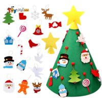 DIY Toddler Felt Christmas Tree with Hanging Ornaments Children Xmas New Year Gifts Merry Christmas Party Decorations