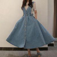 NORMOV Katı Kadın Elbise V Boyun Backless Straplez Düğme Cepler Orta Buzağı Pamuk Bir Çizgi Spagetti Kayış Elbise Ofis Bayan