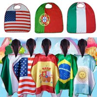 Dünya Kupası Bayrakları Pelerin ABD İtalya Almanya Ulusal Tek Katmanlı Bayrak Pelerin Pelerin Cosplay Parti Kutlamak Dekorasyon Malzemeleri WX9-516