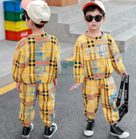 Fashion Garçons Tenue à carreaux colorés 2021 Sweat-shirt à manches longues imprimées à carreaux imprimés + pantalon décontracté 2pcs ensembles de vêtements enfants A5934