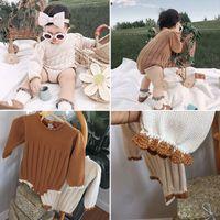 Enkelibb bebé niña invierno punto mameluco encantador lindo invierno manga larga de una pieza bebé niña mamelucos ropa niño tejido Onesie 210303