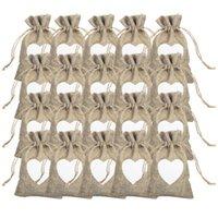 선물 랩 20pcs 린넨 포장 가방 사랑 패턴 파우치 Drawstring 팩 간단한 사탕 파티 호의