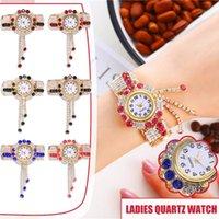 Wristwatches Handmade Bangles Printed Beaded Bracelet Bangle Jewelry Alloy Watch Fashion Quartz Elastic Wristwatch For Women