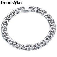 Trendsmax Biker Mens Bracelet for Women Silver Color Marina Link Chain 316L Stainless Steel Bracelet HB19 210609