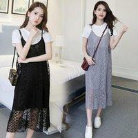 Maternity Dresses Clothes Summer 2 Pcs Clothing T Shirt & Lace Slip Dress Set Loose Stylish For Pregnant Women Pregnancy