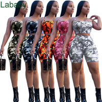 Designer Summer Womens Tracksuits Camo Print 2 Two Piece Outfits Condole belt Tops +Shorts Women Clothes Ladies Sport tracksuit ClothingDHL