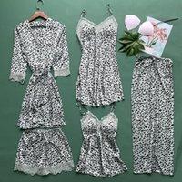 Leopardo 5 unids pijamas conjunto mujer verano satinado ropa de dormir delgado sedoso suave kimono bata de baño vestido sexy encaje recorte dormir ropa de hogar l0304