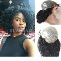 Perruque médicale Les meilleures perruques ventes 1B Virgin Brazilian Cheveux Kinky Curly Curly PU Perruque de peau finale pour femmes noires Livraison gratuite