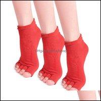 Atlético ao ar livre como OutdoorsPairs ioga meias antiderrapante de algodão dedo do pé aberto com apertos para mulheres pilates ballet dança treino esportes Drop Delive