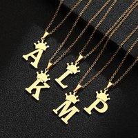 Mektup Kolye A B C D E F G H I J K L M N O P Q R S T U V W X Y Z Paslanmaz Çelik Taç İlk Charm Kolye Gotik Takı
