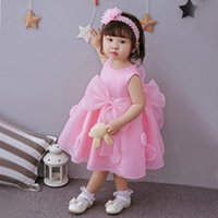 Girl's Dresses Born Baby Dress Flower Girls Princess Sweet Pink Party Vest Hairband & White Set 0-3Y Lace Clothing Coat Gift Christmas