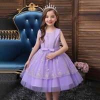 Girl's Dresses Flower Girls Pearls Embroidery Tulle Lace Sleeveless Bow O-Neck Luxury Purple Knee-Length Kids Party Princess Gown F144