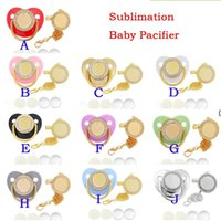 Sublimation Pacifier with Diamond Favor Multicolor Baby Silicone Pacifiers Aluminum Necklace Clip Comfort Kid Feeder BWB9419