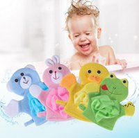 Yeni 4 Renkler Hayvanlar Tarzı Duşlar Sünger Havlu Sevimli Çocuk Bebek Duş Banyo Havlu Banyo Yıkama Bezi Vücut Scrub Eldiven Banataları EWF5947