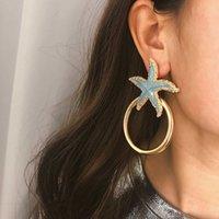 Accessoires de boucles d'oreilles punk de cercle d'étoile de mer