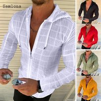 2021 Fashion Long sleeved Hoodie Zipper T shirt Men clothing Summer Solid color Casual Plaid print Open Stitch Thin Tshirt Mens