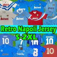 Retro Futbol Formaları Napoli 1987 1988 87 88 COPPA Italia SSC Napoli Maradona 10 Vintage Calcio Napoli Klasik Vintage Napolitan Jersey Futbol Gömlek