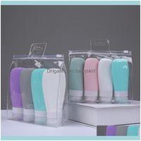 Ferramentas AESsories Body Health Beauty60ml 90ml Ferramenta de banho Conjunto de vazamento Prova de Vazio Garrafas de Viagem Vazio Refilleable Squeeza Cosméticos Shampoo