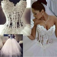 White Wedding Dresses Sweetheart Corset See Through Floor Length Princess Bridal Gowns Beaded Lace Pearls Custom Made DH345