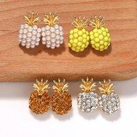 패션 귀여운 유리 크리스탈 파인애플 스터드 귀걸이 여자 Boho Simulated Pearl Fruit Earrings 문장 보석 선물