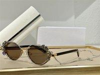 نظارات شمسية للنساء نمط الصيف المضادة للأشعة فوق البنفسجية تألق الرجعية البيضاوي إطار معدني الماس سلسلة الأزياء النظارات مربع عشوائي