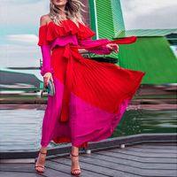 Casual Dresses Slash Off Schulter Frauen Kleid 2021 Sommer Abend Party Vintage Bandage Gefaltete Lange Maxi Weibliche Vestidos