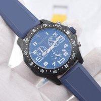 1884 Hommes Montres Blue Caoutchouc Strap VK Batterie Chronographe De Quartz Mouvement Montre-Bracelet Luxusuhr Lumineux Hanbelson