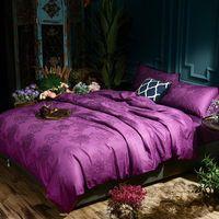 Bedding Sets Cotton Silk Jacquard Grey Pink Purple Set Queen King Size Luxury Bed Bedsheet Duvet Quilt Cover Pillowcase