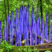 Garden Art Decor Floor Lamp Murano Glass Reeds Handmade Blown Blue Large Standing Sculpture for Home