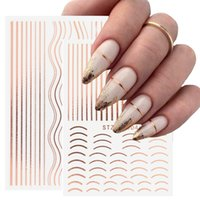 3D Lines Nail Stickers DIY Rose Gold Metal Stripe Lines Letters Decals Curve Nail Art Sliders Self Adhesive Decorations Manicure