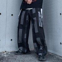 Contraste color jeans hombres Europa y América Popular múltiples bolsillos BIB general Hip Hop Street Fashion Pantalones sueltos