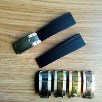 Hot 20mm Strap Fit Fit für Rolex Sub / GMT / YM Neue weiche dauerhafte wasserdichte Banduhr Zubehör mit Silber Original Stahlverschluss Uhren-Bands