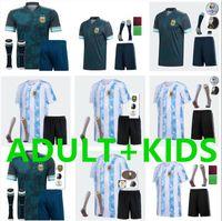 Copa América 2021 2022 Criança Argentina Futebol Jerseys 21 22 Messi Dybala Maradona Aguero di Maria Higuain Futebol Camisas Adult Kids Kit + meias