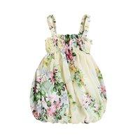 Modig designer barnkläder blomma sommar spädbarn s söta kläder blommig ruffle suspender tjejer klänningar prinsessa party baby dres