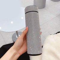 Water Bottles Creative Diamond Bottle Steel Smart Temperature Display Vacuum Flask Mug Gift For Men Women J1G8