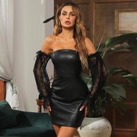 Casual Dresses Wholesale Woman's Black Artificial Leather Strapless Lace Long Sleeves Sexy Club Celebrity Cocktail Party Dress